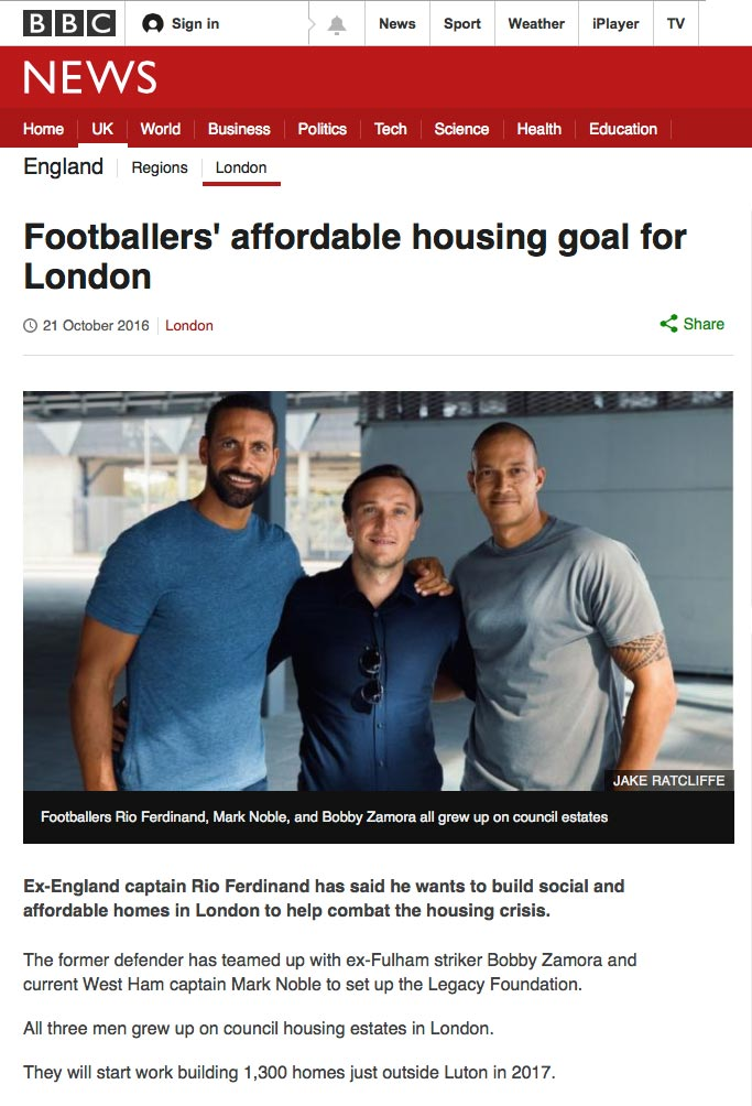 BBC News Legacy Foundation Rio Ferdinand Bobby Zamora Mark Noble